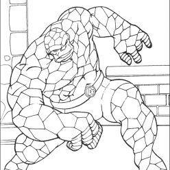 Раскраски Супергерои Марвел для мальчиков «Бен из фантастической четверки», чтобы распечатать
