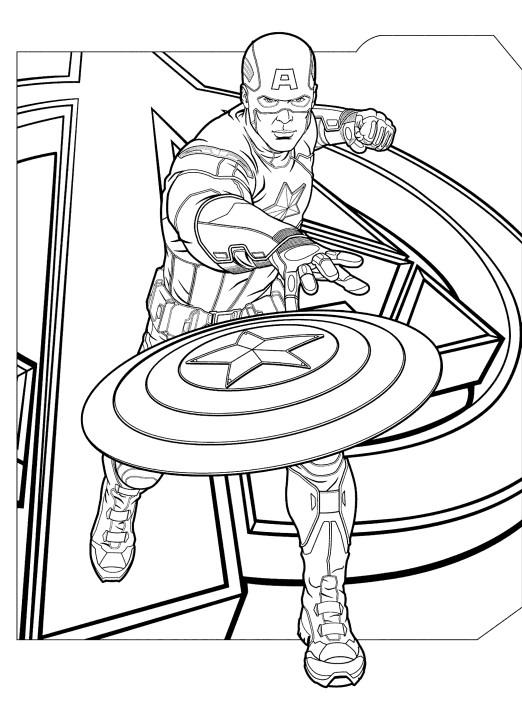 Раскраски супергерои для мальчиков «Капитан Америка», чтобы распечатать