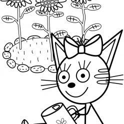 Раскраски из мультфильма Три кота для детей «Карамелька в саду», чтобы распечатать