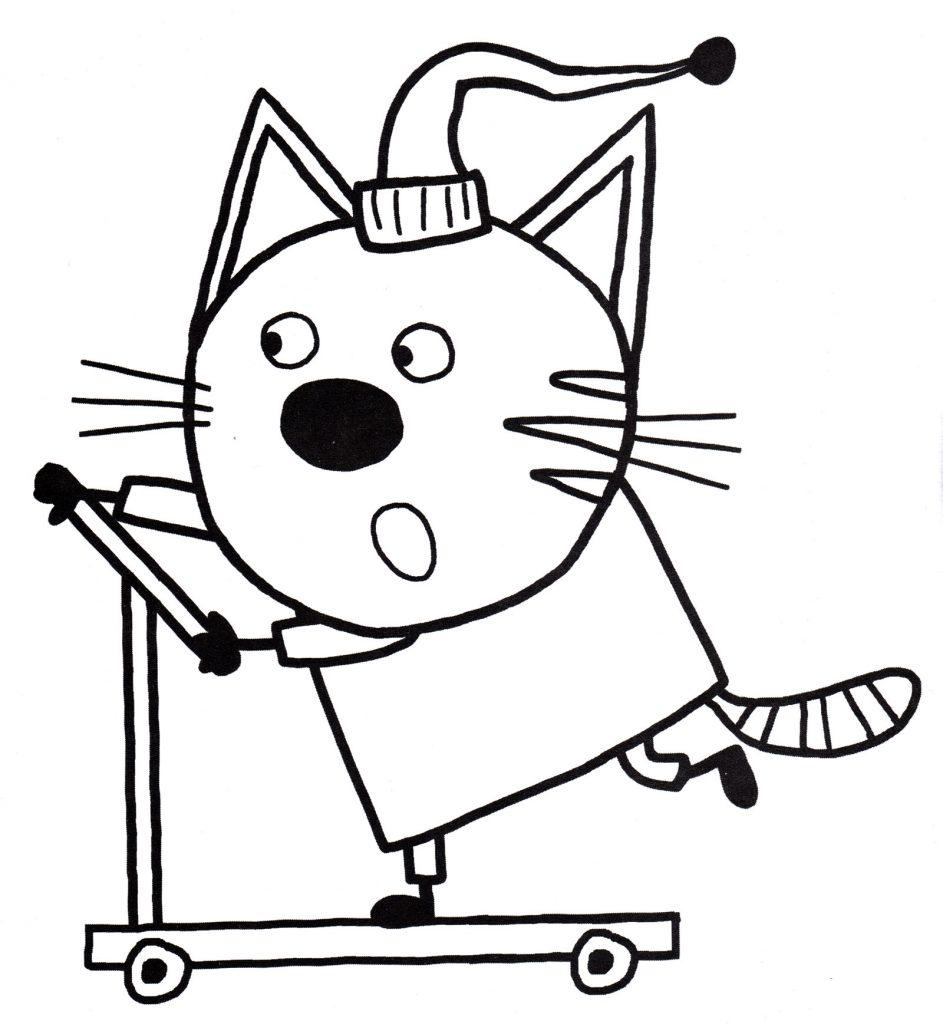 Раскраски из мультфильма Три кота для детей «Компот учится ездить на самокате», чтобы распечатать