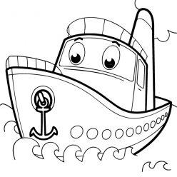 Раскраски для мальчиков транспорт с глазками «Кораблик», чтобы распечатать и раскрасить онлайн