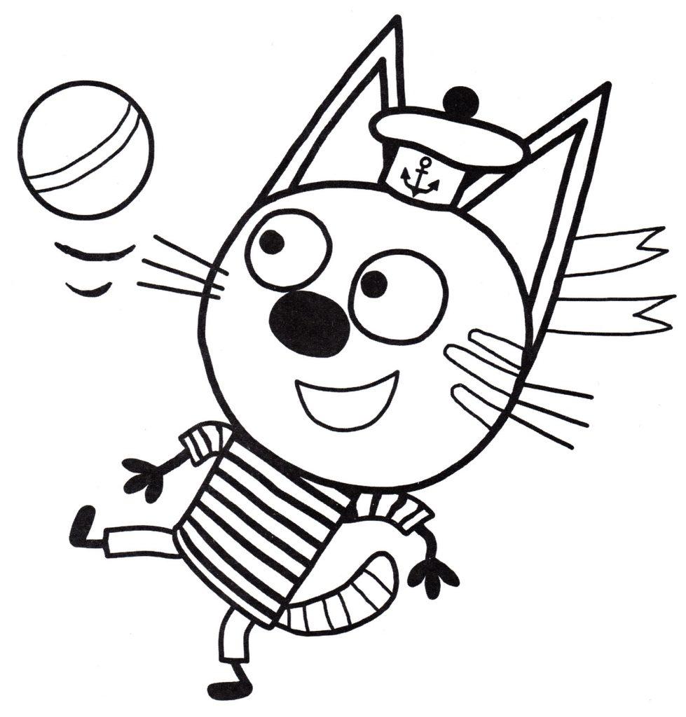 Раскраски из мультфильма Три кота для детей «Коржик играет в футбол», чтобы распечатать