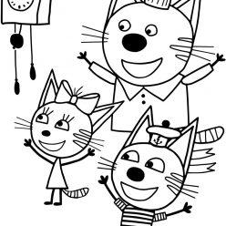 Раскраски из мультфильма Три кота для детей «Коржик Карамелька и Компот», чтобы распечатать
