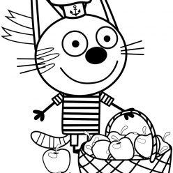 Раскраски из мультфильма Три кота для детей «Коржик с яблоками», чтобы распечатать