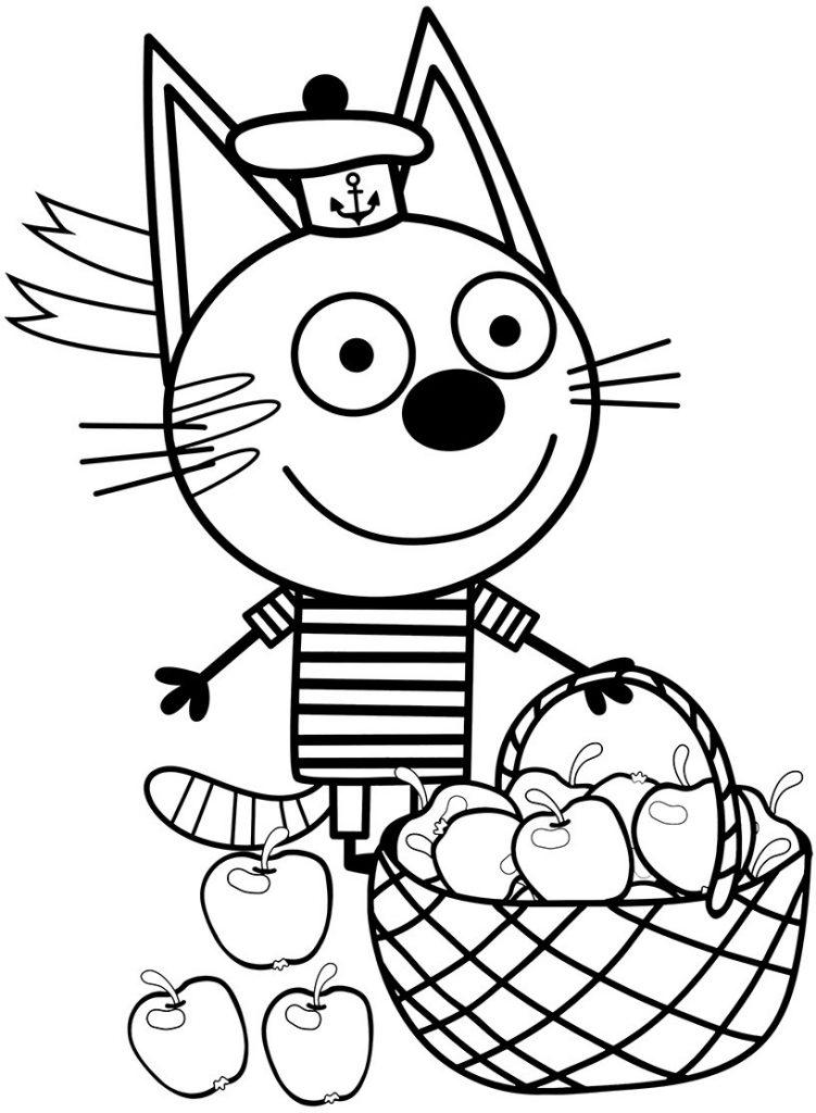 Коржик с яблоками - Три кота - Раскраски антистресс