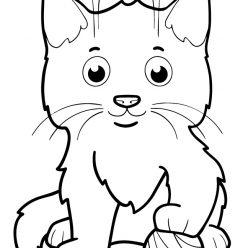 Раскраски животных для маленьких детей «Котенок с клубком», чтобы распечатать и раскрасить онлайн