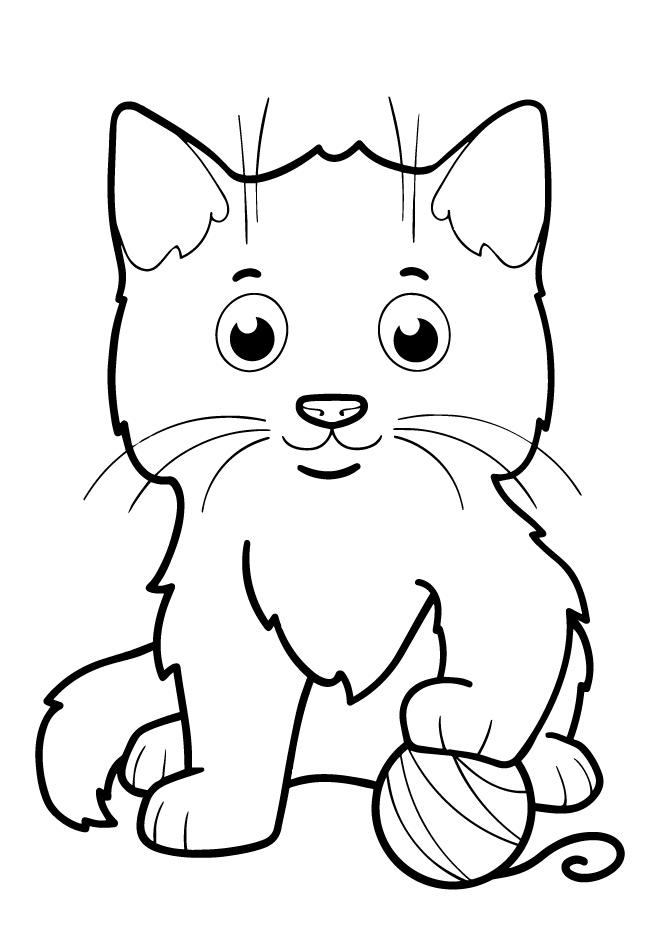 Котенок с клубком - Животные для малышей - Раскраски ...