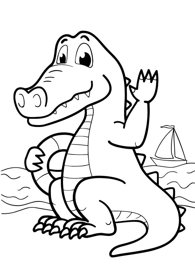 Раскраски животных для маленьких детей «Крокодил», чтобы распечатать и раскрасить онлайн