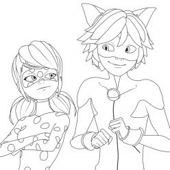Раскраски из мультфильма Леди Баг для детей «Милые Ледибаг и Суперкот», чтобы распечатать