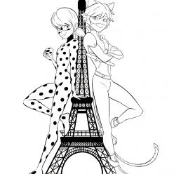 Раскраски из мультфильма Леди Баг для детей «ЛедиБаг и СуперКот рядом с Эйфелевой башней», чтобы распечатать