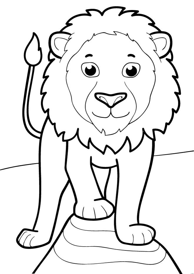 Раскраски животных для маленьких детей «Лев», чтобы распечатать и раскрасить онлайн