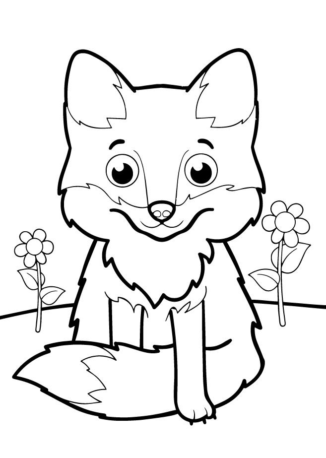 Раскраски животных для маленьких детей «Лисичка», чтобы распечатать и раскрасить онлайн