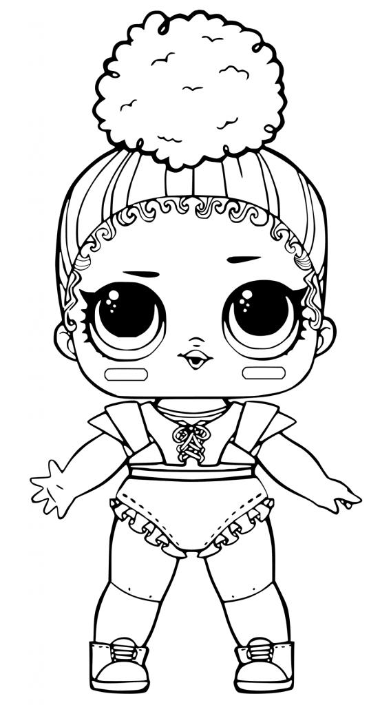 Раскраски «кукла ЛОЛ» спортсменка TOUCHDOWN, чтобы бесплатно распечатать