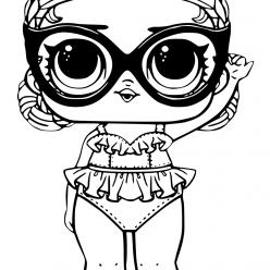 Раскраски «кукла ЛОЛ» малышка в отпуске, чтобы бесплатно распечатать