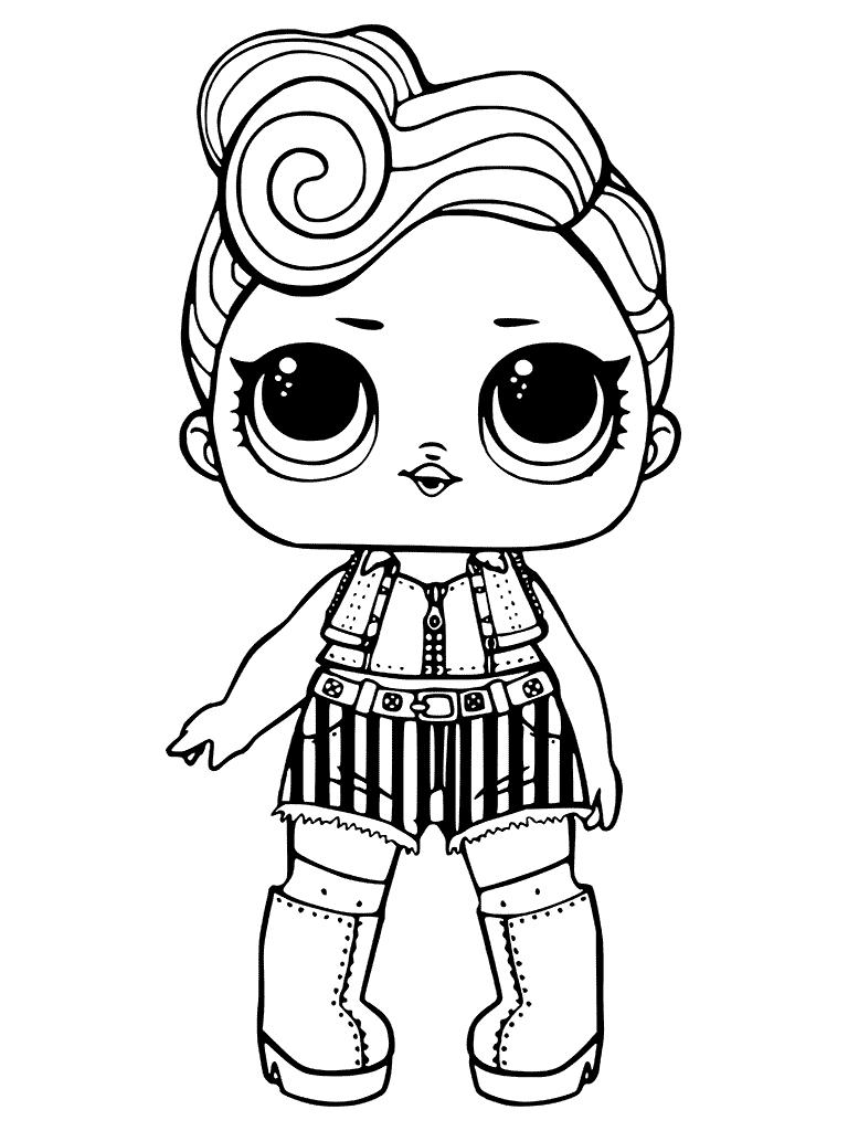 Раскраски «кукла ЛОЛ» рокерша крутышка, чтобы бесплатно распечатать