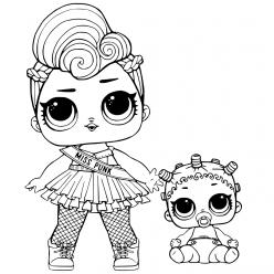 Раскраски «кукла ЛОЛ» miss punk с сестричкой, чтобы бесплатно распечатать