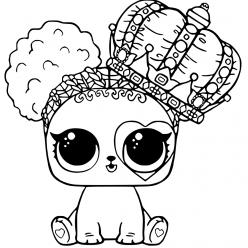 Раскраски «кукла ЛОЛ» Кукла ЛОЛ питомец собачка с короной, чтобы бесплатно распечатать