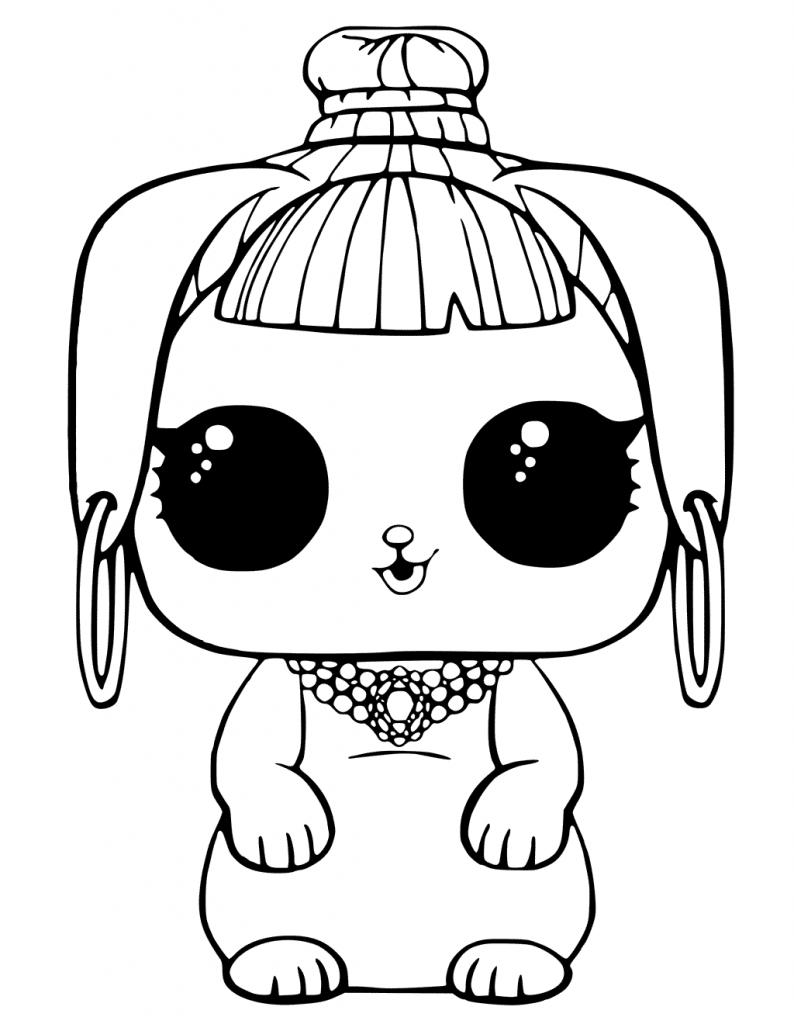 Раскраски «кукла ЛОЛ» питомец Банни красотка, чтобы бесплатно распечатать