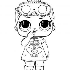 Раскраски «кукла ЛОЛ» сонные косточки, чтобы бесплатно распечатать