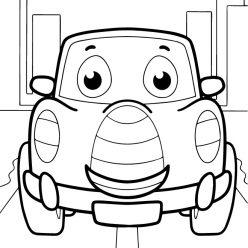 Раскраски для мальчиков транспорт с глазками «Легковая машинка», чтобы распечатать и раскрасить онлайн