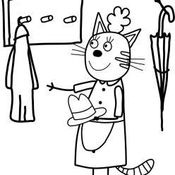 Раскраски из мультфильма Три кота для детей «Мама Кисуля», чтобы распечатать
