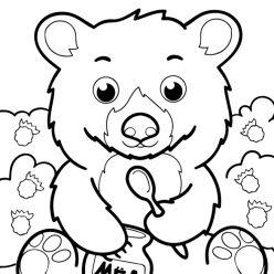 Раскраски животных для маленьких детей «Медведь с малиной и медом», чтобы распечатать и раскрасить онлайн