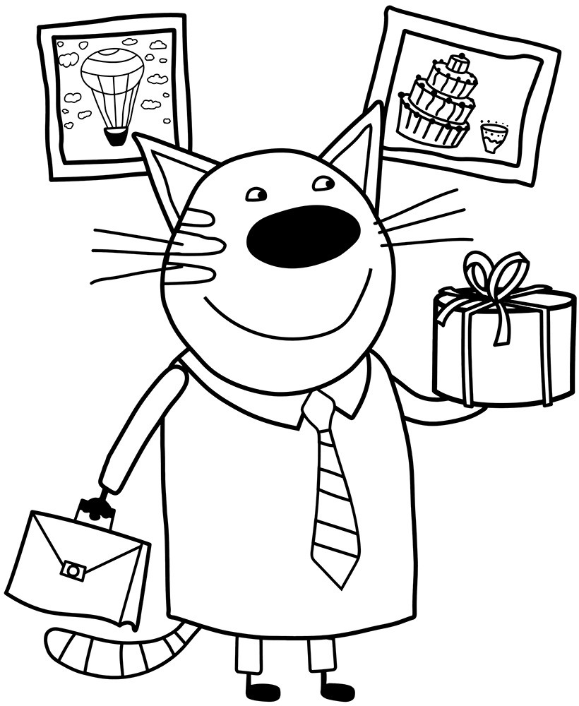 Раскраски из мультфильма Три кота для детей «Папа Котя», чтобы распечатать