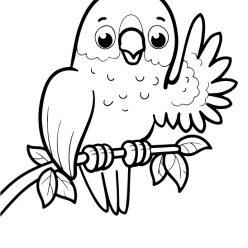 Раскраски животных для маленьких детей «Попугайчик», чтобы распечатать и раскрасить онлайн