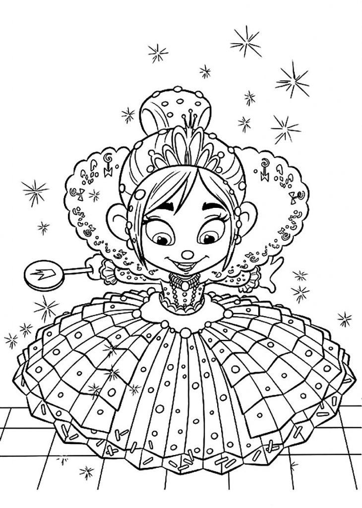 Раскраски из мультфильма Ральф для детей «Принцесса Ванилопа фон Кекс», чтобы распечатать