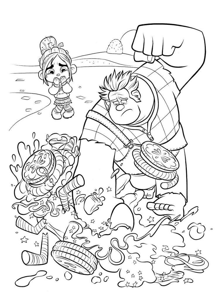 Раскраски из мультфильма Ральф для детей «Ральф ломает машину Венилопы», чтобы распечатать