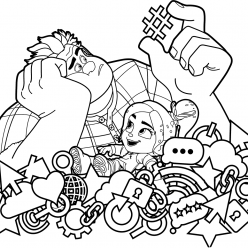 Раскраски из мультфильма Ральф для детей «Ральф ломает интернет», чтобы распечатать