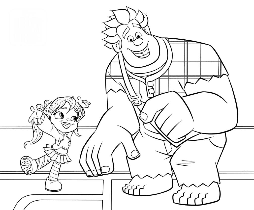 Раскраски из мультфильма Ральф для детей «Ральф против интернета», чтобы распечатать