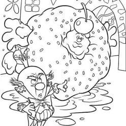 Раскраски из мультфильма Ральф для детей «Король Карамель Турбо», чтобы распечатать
