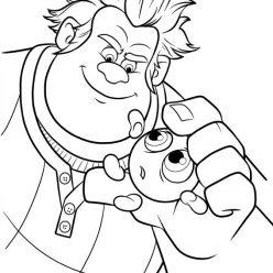 Раскраски из мультфильма Ральф для детей «Ральф и смайлик», чтобы распечатать
