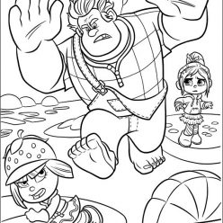 Раскраски из мультфильма Ральф для детей «Ральф в игре сладкий форсаж», чтобы распечатать