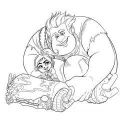 Раскраски из мультфильма Ральф для детей «Ральф и Ванилопа», чтобы распечатать