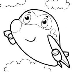 Раскраски для мальчиков транспорт с глазками «Самолет», чтобы распечатать и раскрасить онлайн