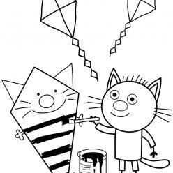 Раскраски из мультфильма Три кота для детей «Сажик рисует», чтобы распечатать