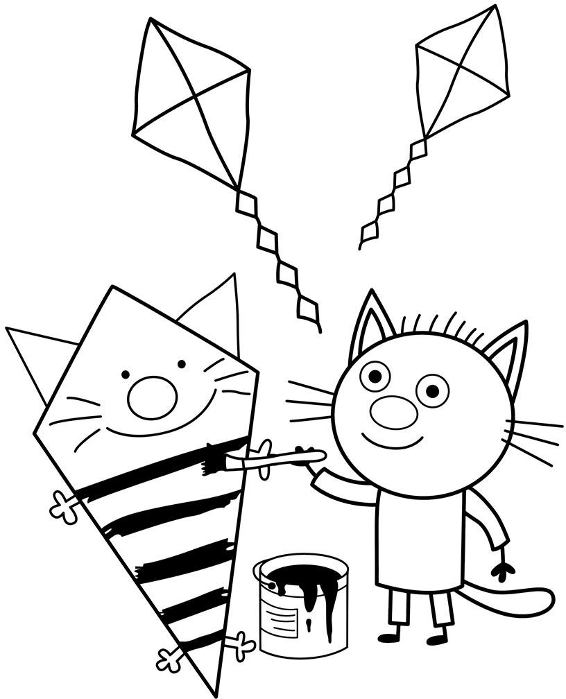 Сажик рисует - Три кота - Раскраски антистресс