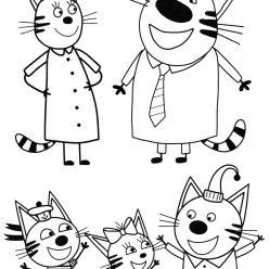 Раскраски из мультфильма Три кота для детей «Вся семья», чтобы распечатать