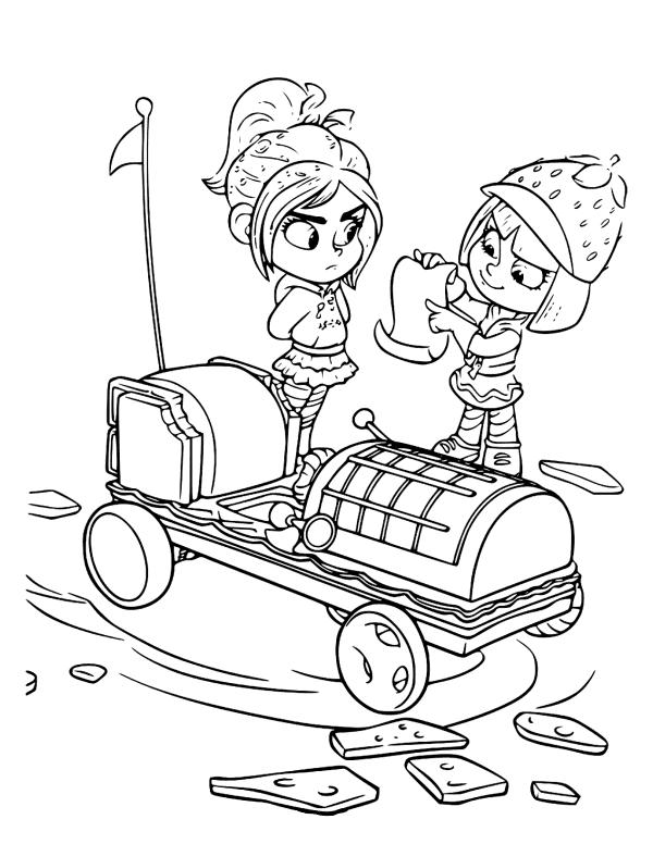 Раскраски из мультфильма Ральф для детей «Сладкий форсаж», чтобы распечатать