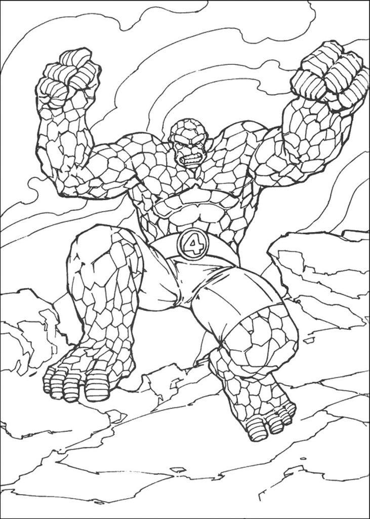 Раскраски Супергерои Марвел для мальчиков «Существо из фантастической четверки», чтобы распечатать