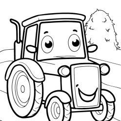 Раскраски для мальчиков техника с глазками «Трактор», чтобы распечатать и раскрасить онлайн