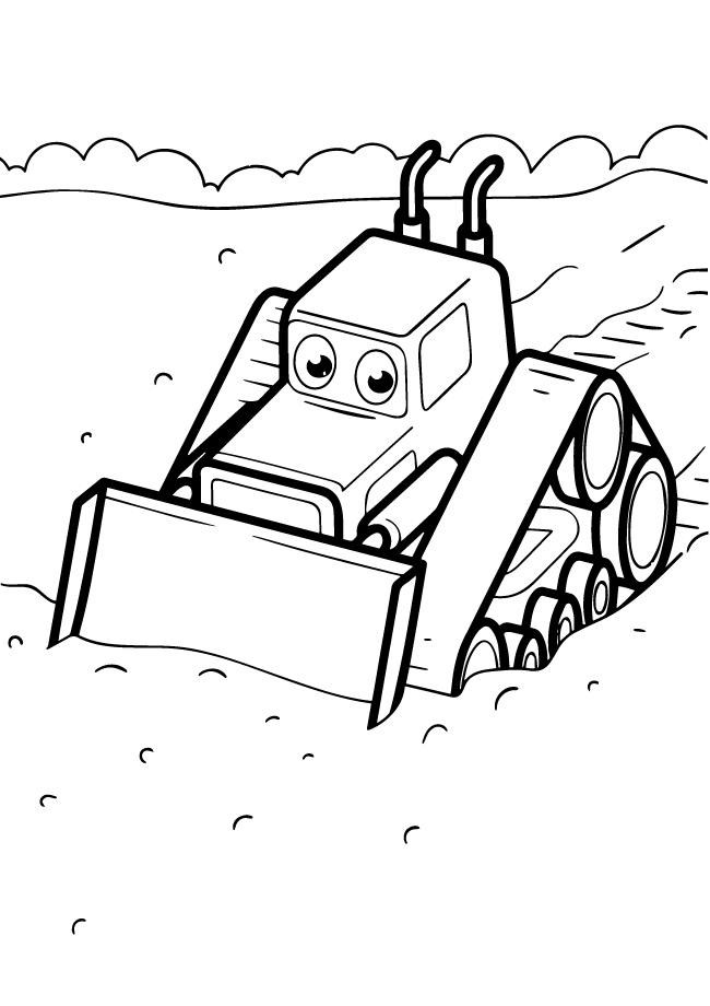 Раскраски для мальчиков техника с глазками «Трактор с ковшом», чтобы распечатать и раскрасить онлайн