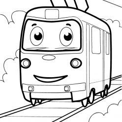 Раскраски для мальчиков транспорт с глазками «Трамвай», чтобы распечатать и раскрасить онлайн