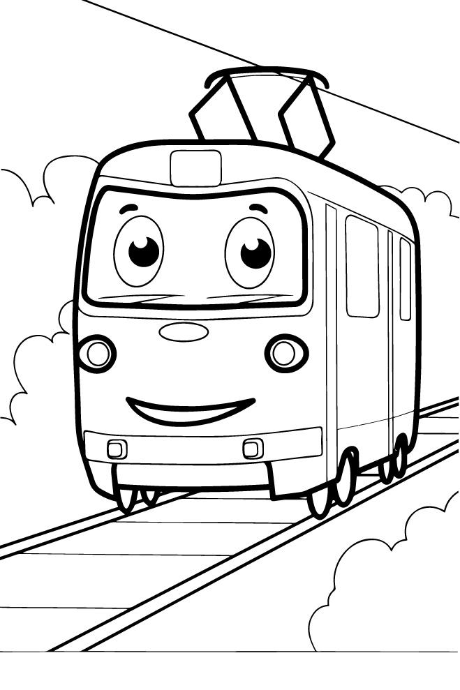 Трамвай - Транспорт - Раскраски антистресс