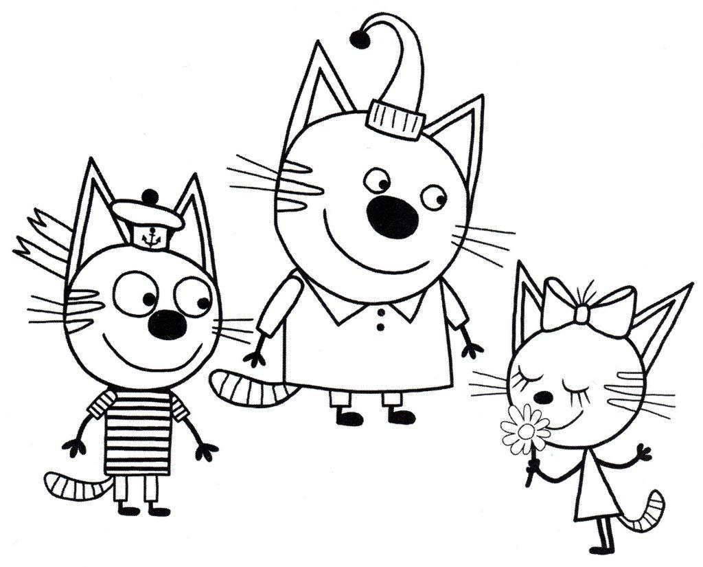 Два кота и одна кошечка - Три кота - Раскраски антистресс