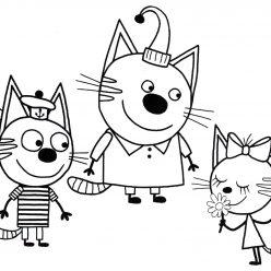 Раскраски из мультфильма Три кота для детей «Два кота и одна кошечка», чтобы распечатать