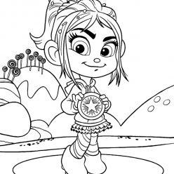 Раскраски из мультфильма Ральф для детей «Ванилопа с медалями», чтобы распечатать