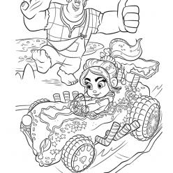 Раскраски из мультфильма Ральф для детей «Ванилопа на машине из сладостей», чтобы распечатать